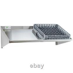 42 Mur Mount Stainless Steel Glass 2 Dish Rack Slant Shelf Cuisine Commerciale