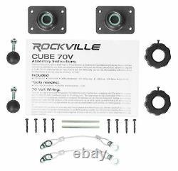 6 Rockville Cube 70v Noir 3.5 Commercial Swivel Wall Mount Restaurant Haut-parleurs