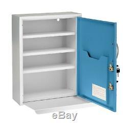 Adirmed Blue Steel Dual Lock Commercial Armoire À Pharmacie Avec Pullout Étagère