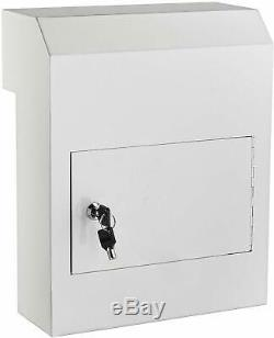 Adiroffice Blanc Coated Steel Through The Door Locking Safe Drop Box Boîte Aux Lettres