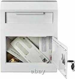 Adiroffice White Coated Steel Safe Locking Wall Mount Mailbox Secure Drop Box