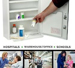 Armoire De Médecine Commerciale À Double Serrure En Acier Blanc Adirmed Avec Étagère De Retrait