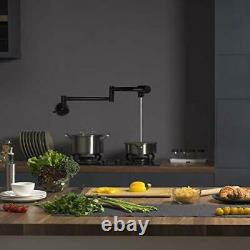 Black Pot Filler Robinet Cuisine Commerciale Single Hole Wall Mount Folding