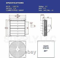 Commercial Wall Mount Shutter Exhaust Fan 20 Atelier Garage Garage Shed Barn