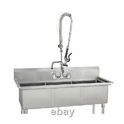 Coolwest Commercial Sink Robinet 8 Inch Center Wall Mount Kitchen Robinet Avec
