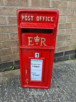 Er Royal Mail Poste Pilier Boîte En Fer Rouge Cast Wall Mount Fente De Lettre 2 Clés
