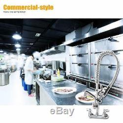 Évier Commercial Robinet Avec Pré-rinçage Du Pulvérisateur Support Mural Robinet De Cuisine Chrome