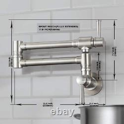 Jzbrain Pot Filler Faucet Wall Mount Stainless Steel Commercial Pot Filler 5.5 G
