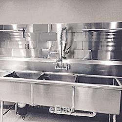 Mstjry Robinet Commercial Avec Déroulez 8 Pouces Pulvérisateur Centre Support Mural De Cuisine