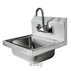 Nouveau Commercial En Acier Inoxydable Lavage Des Mains Mur De Lavage Mount Sink Kitchen Argent