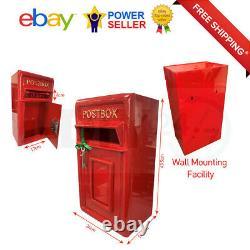 Rolson Wall Mounting Cast Iron Post Box Post Box Red British Mailbox