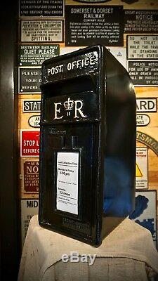 Royal Mail Cast Iron Er Post Box Pilier Rouge Noir Blanc Letterbox Enduit De Poudre