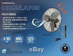 Tpi-w Cacu20 20 Commercial Air Circulator Montage Mural 1780/1600/1420 Cfm 120v