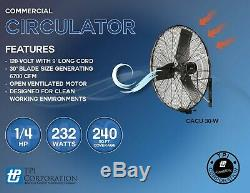 Tpi-w Cacu30 30 Commercial Air Circulator Montage Mural 4200/3800/3500 Cfm 120v