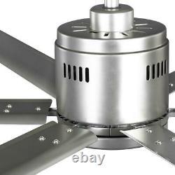 Ventilateur De Plafond 72 Po. Double Montage Intérieur Extérieur 6 Lames Avec Contrôle Mural Nickel