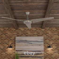 Ventilateur De Plafond Hampton Bay 60 Po. Acier Brossé Intérieur/extérieur Avec Contrôle Mural