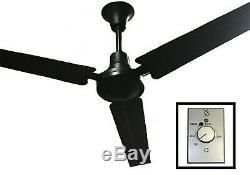 Ves 56 Usage Commercial Et Industriel De Qualité Ventilateur Au Plafond Avec Contrôle, Noir Mat
